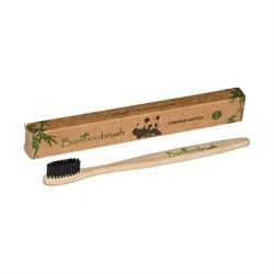 Зубная щетка из бамбука, щетина с угольным напылением (средняя жесткость) - фото 6049